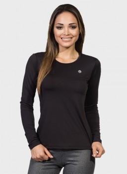 camisa uv feminina basic dry com protecao solar manga longa extreme uv preta frente c