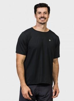 camiseta basic masculina com protecao solar manga curta preta extreme uv new dry frente c