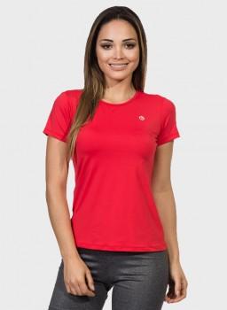 camisa uv feminina new dry com protecao solar manga curta extreme uv vermelha frente c