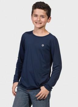 camisa uv infantil masculina ice manga longa com protecao solar extreme uv marinho frente c