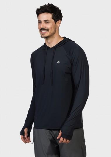 camisa uv masculina ice protecao solar capuz e encaixe de dedo extreme uv preta lateral c