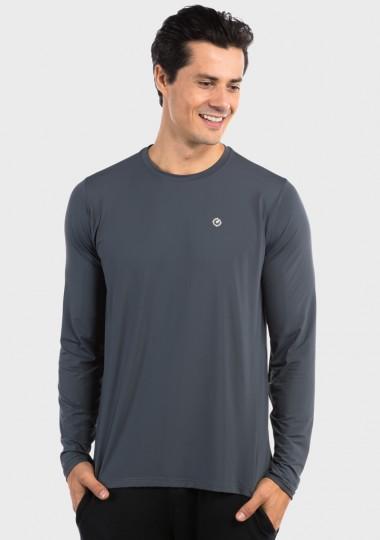 camisa uv ice 3d com protecao solar extreme uv cinza frente c