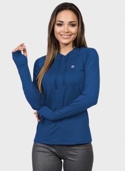 camisa feminina new dry com protecao solar capuz e encaixe para o dedo extreme uv azul frente c