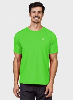 camiseta basic masculina com protecao solar manga curta extreme uv new dry verde fluor frente c