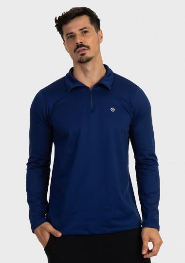 camisa termica masculina gola alta com protecao solar extreme uv azul frente 2 c