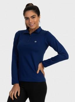 feminina t shirt thermo gola alta ziper azul marinho lateral c