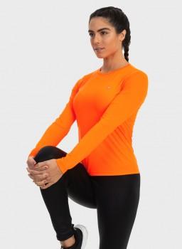 camisa uv feminina basic dry com protecao solar manga longa extreme uv laranja lateral c n