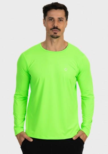 camisa masculina basic dry com protecao solar manga longa extreme uv verde fluor lateral c n