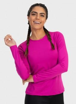camisa uv feminina newdry com protecao solar manga longa extreme uv pink lateral 2 c