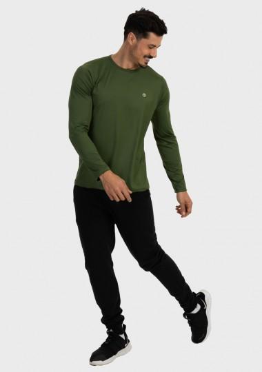 masculina t shirt longa nd verde militar latera c
