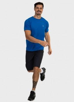 camiseta basic masculina com protecao solar manga curta extreme uv new dry azul frente c n